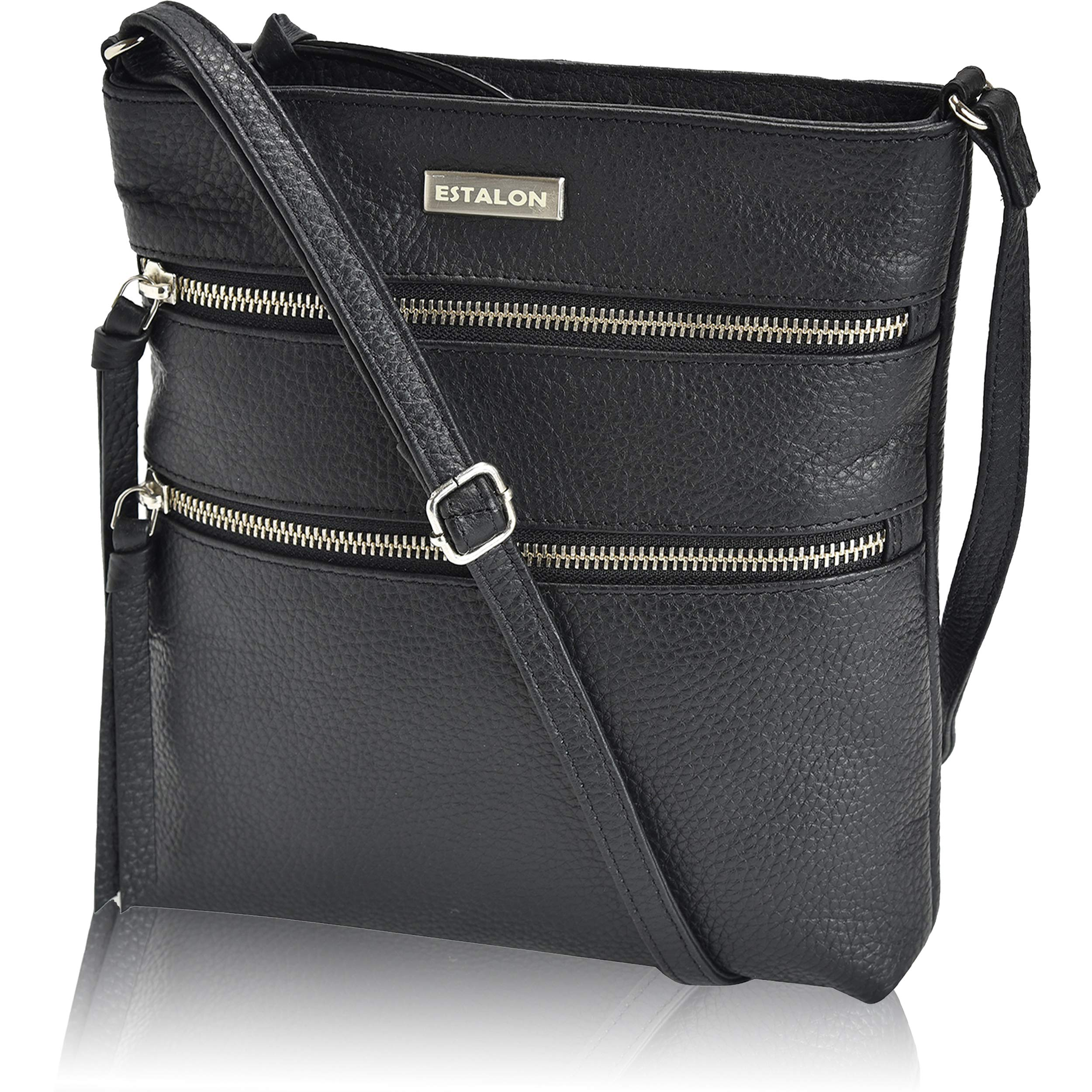 Leather Crossbody Purse for Women- Premium Crossover Cross Body Bag Over the Shoulder Luxury Womens Purses and Handbags (Black Pebble)