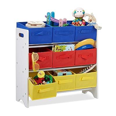 Relaxdays - Niños Estantería con Cajas, 9 Plegable Cestas con Asas, Metal Tubos, Juguete, MDF, Medidas: 62 x 63 x 28 cm, Color Blanco: Hogar