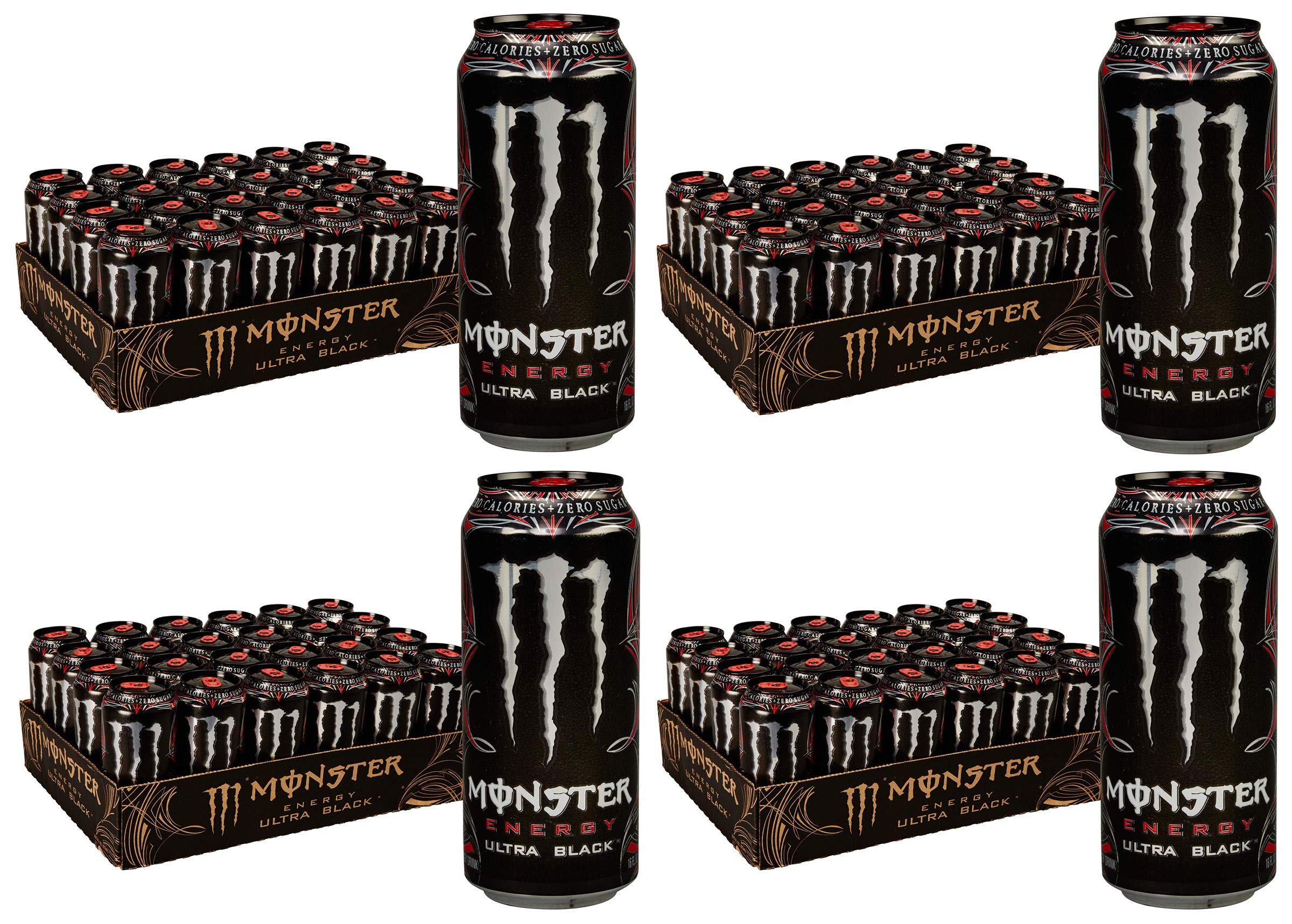 KRRTUCGY Ultra Black, Sugar Free Energy Drink, 16 Ounce, 4 Cases of 24 Cans