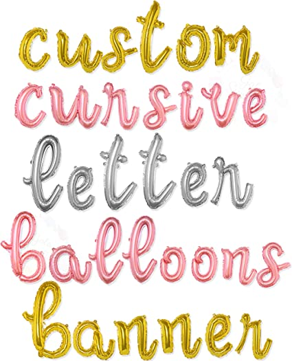 Name balloon Garland Custom Letters Gold Letter KISS Rose Gold Balloons Silver Balloons New Year Merry Balloon banner