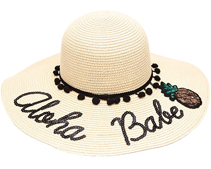 86849e6d52f MIRMARU Women s Summer Wide Brim Sequins Verbiage Beach Sun Floppy Hat  (1207-Natural)