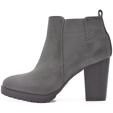 809ffe946d0d3d Kayla Shoes© Boots Stiefeletten in Schwarz oder Grau mit Absatz und Profil  Sohle  Amazon.de  Schuhe   Handtaschen