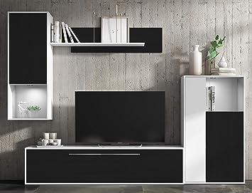 Mueble de salón Comedor módulos Estilo Moderno Color Negro y Blanco ...