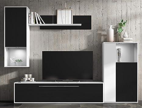 Mueble de salón Comedor módulos Estilo Moderno Color Negro y ...