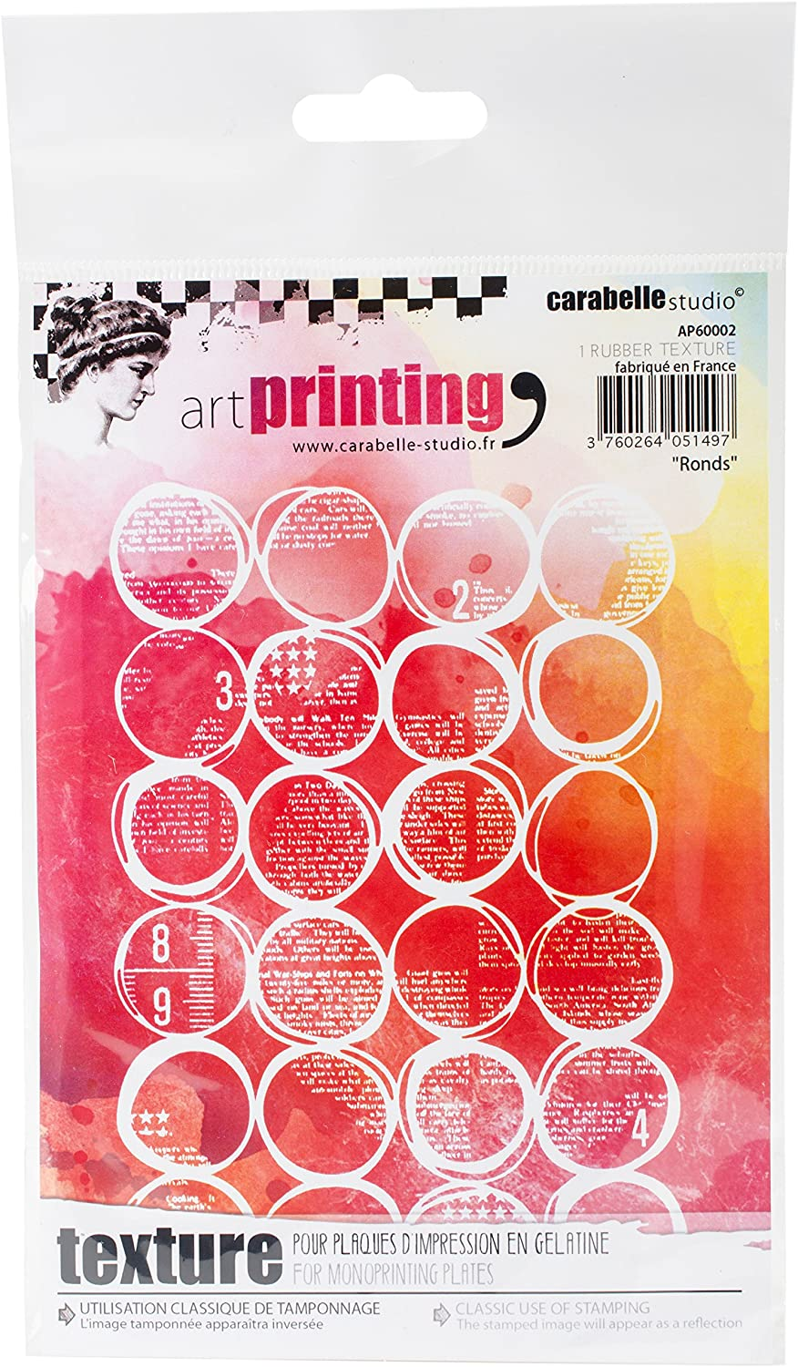Carabelle Studio Art Printing A6 Rubber Texture Plate, Rounds