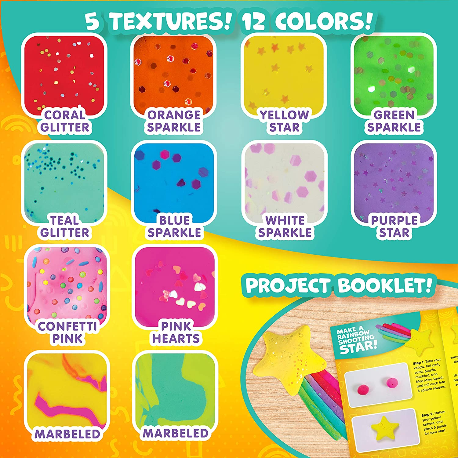 Textured Air Dry Clay Includes 12 Colors in 5 Textures Sculpt It Stretch It Dries Without Cracks.. Mixy Squish Pastel Mega Pack by Horizon Group USA Squish It