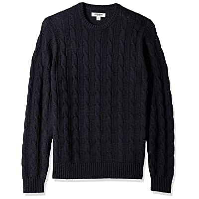 Brand - Goodthreads Men's Soft Cotton Cable Stitch Crewneck Sweater: Clothing