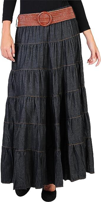 KRISP Falda Larga Boho Cinturón Elástico [Negro, M/L]: Amazon.es ...