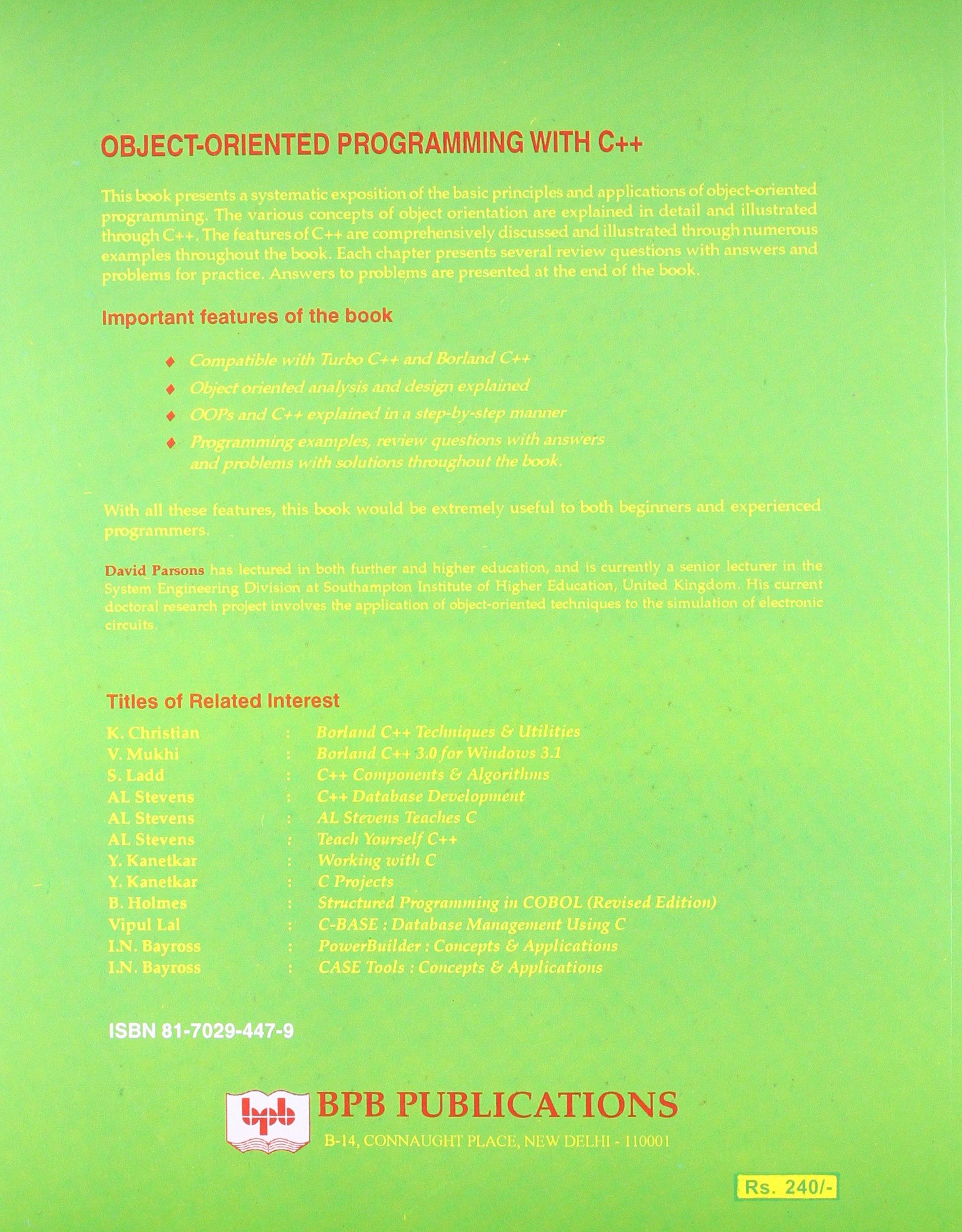 Object Oriented Programming with C++: Amazon.es: David Parsons: Libros en idiomas extranjeros