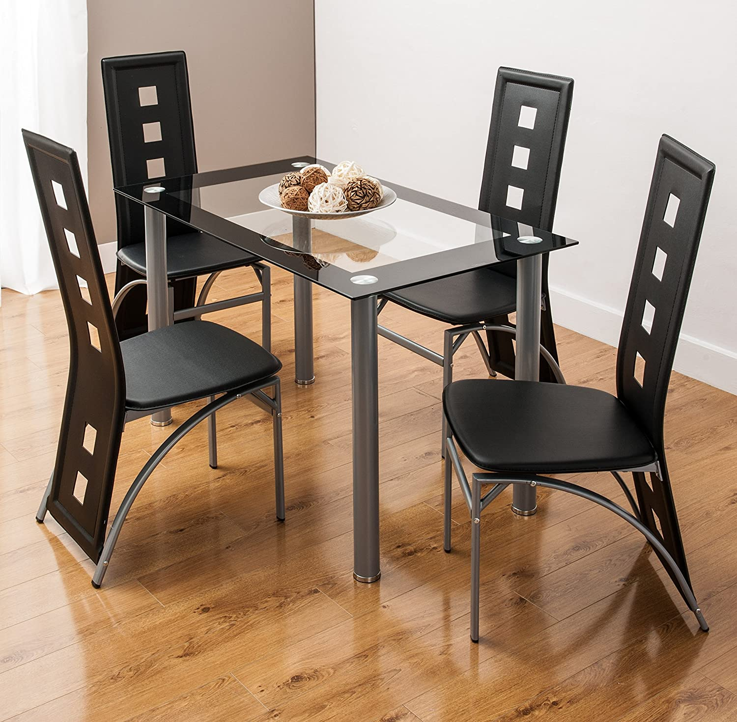 Glass Dining Table Set And 6 Faux Leather Chairs In Square Back Designs By Smartdesignfurnishings 4 Black Amazon Co Uk Kitchen Home