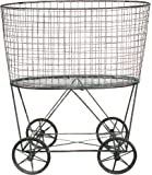 Creative Co-Op DE2757 Metal Vintage Laundry Basket with Wheels