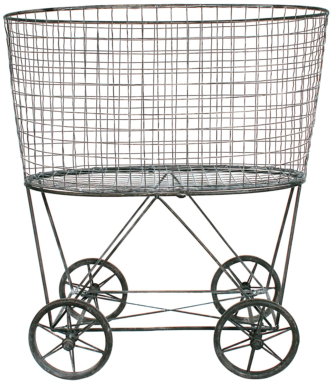 Amazon.com: Creative Co-Op DE2757 Metal Vintage Laundry Basket with ...