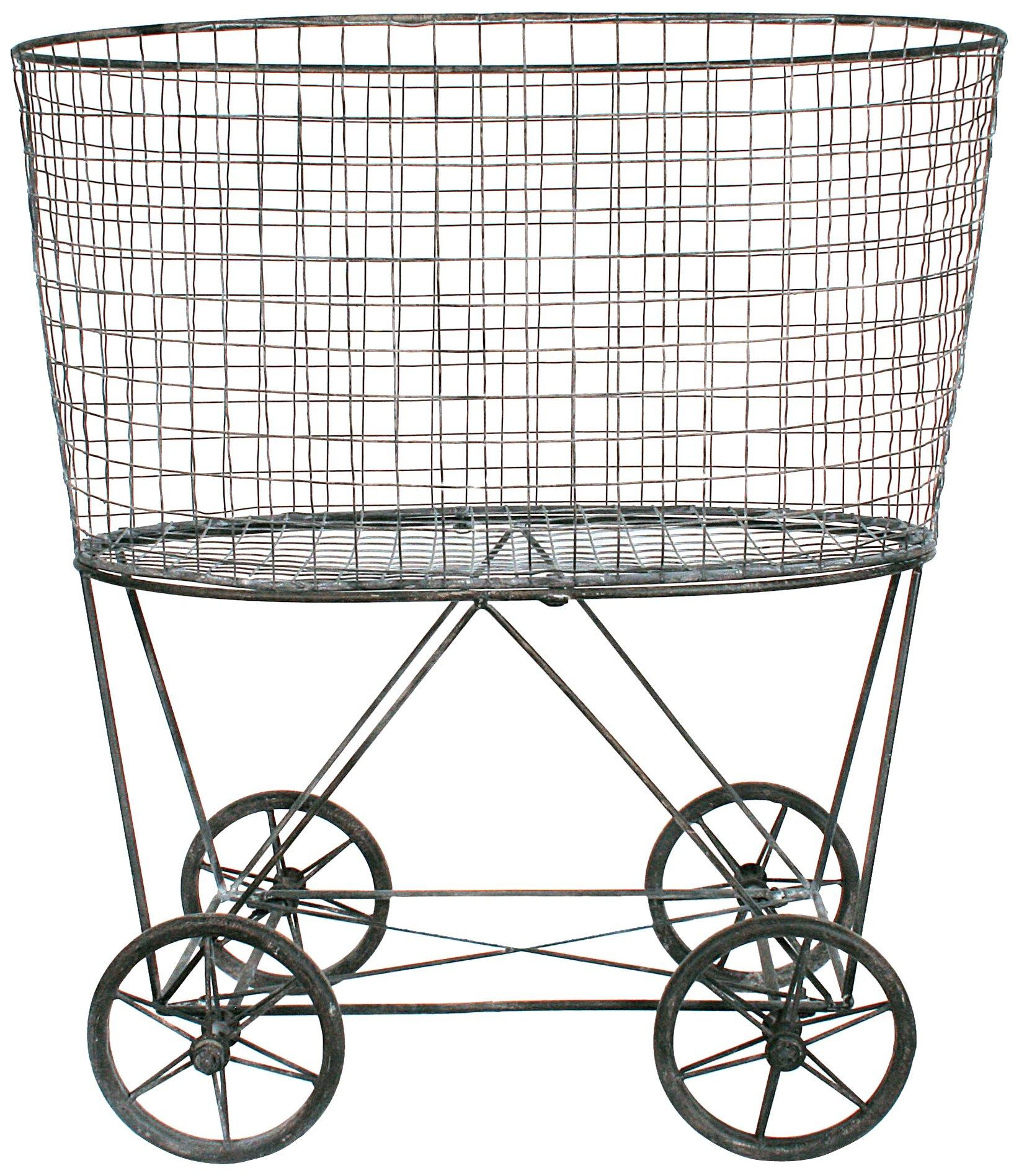 Creative Co-Op DE2757 Metal Vintage Laundry Basket with Wheels