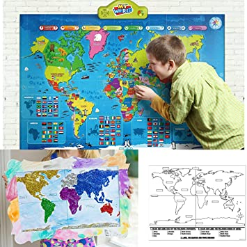 Free Interactive World Map.Amazon Com Bests Learning Interactive Talking World Map Learn All