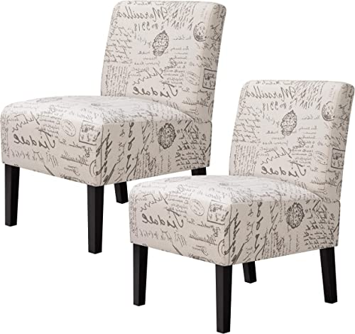 YAHEETECH Modern Design Fabric Armless Accent Chair Upholstered Chairs with Solid Wood Legs, Set of 2