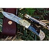 "SALE DKC-527 BLACK WOLF Damascus Steel Folding Pocket Knife 4.5"" Folded 7.5"" Long 3"" Blade 7oz High Class Hand Made DKC Knives"