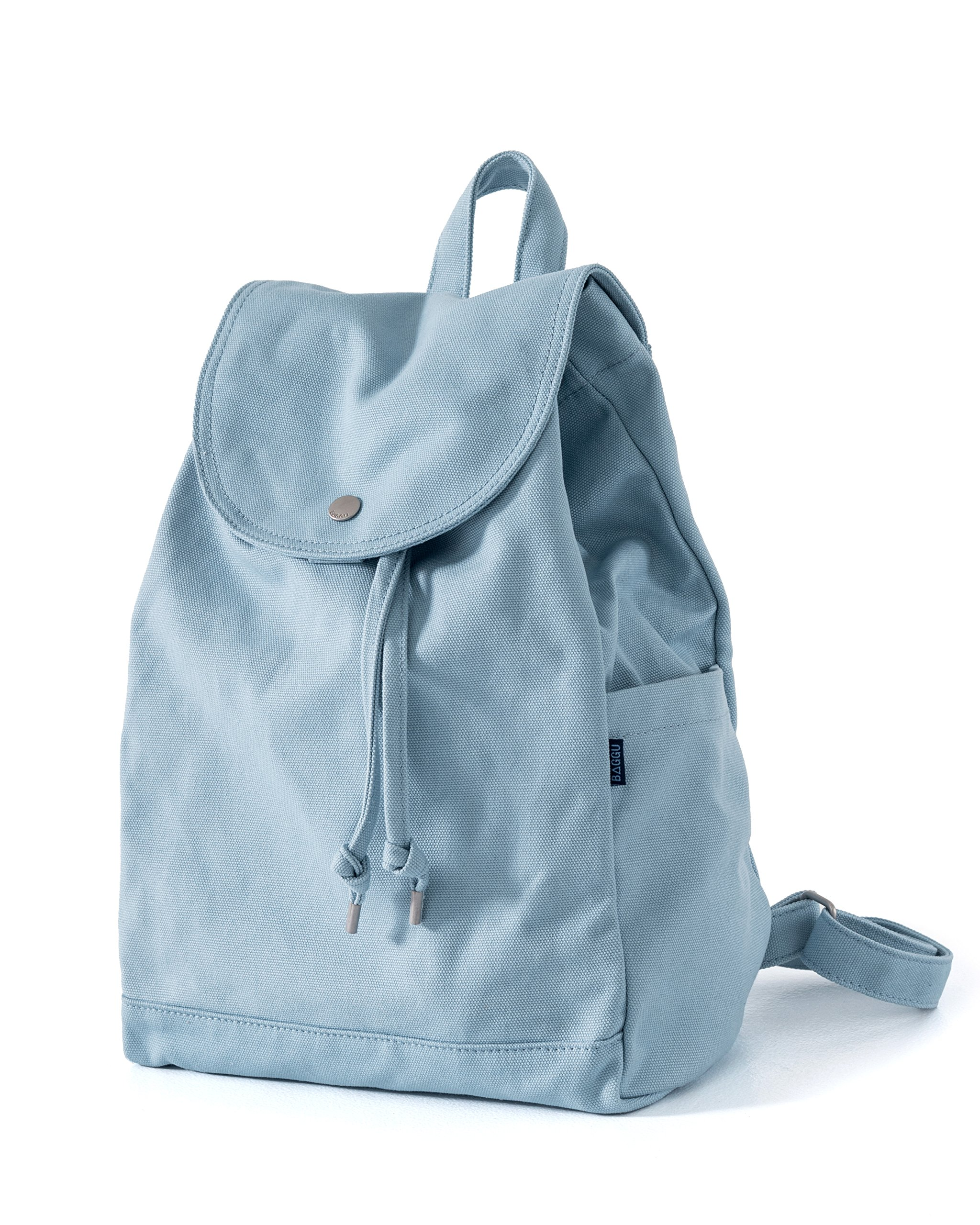 BAGGU Canvas Backpack, Durable and Stylish Simple Canvas Satchel for Daily Essentials, Washed Blue