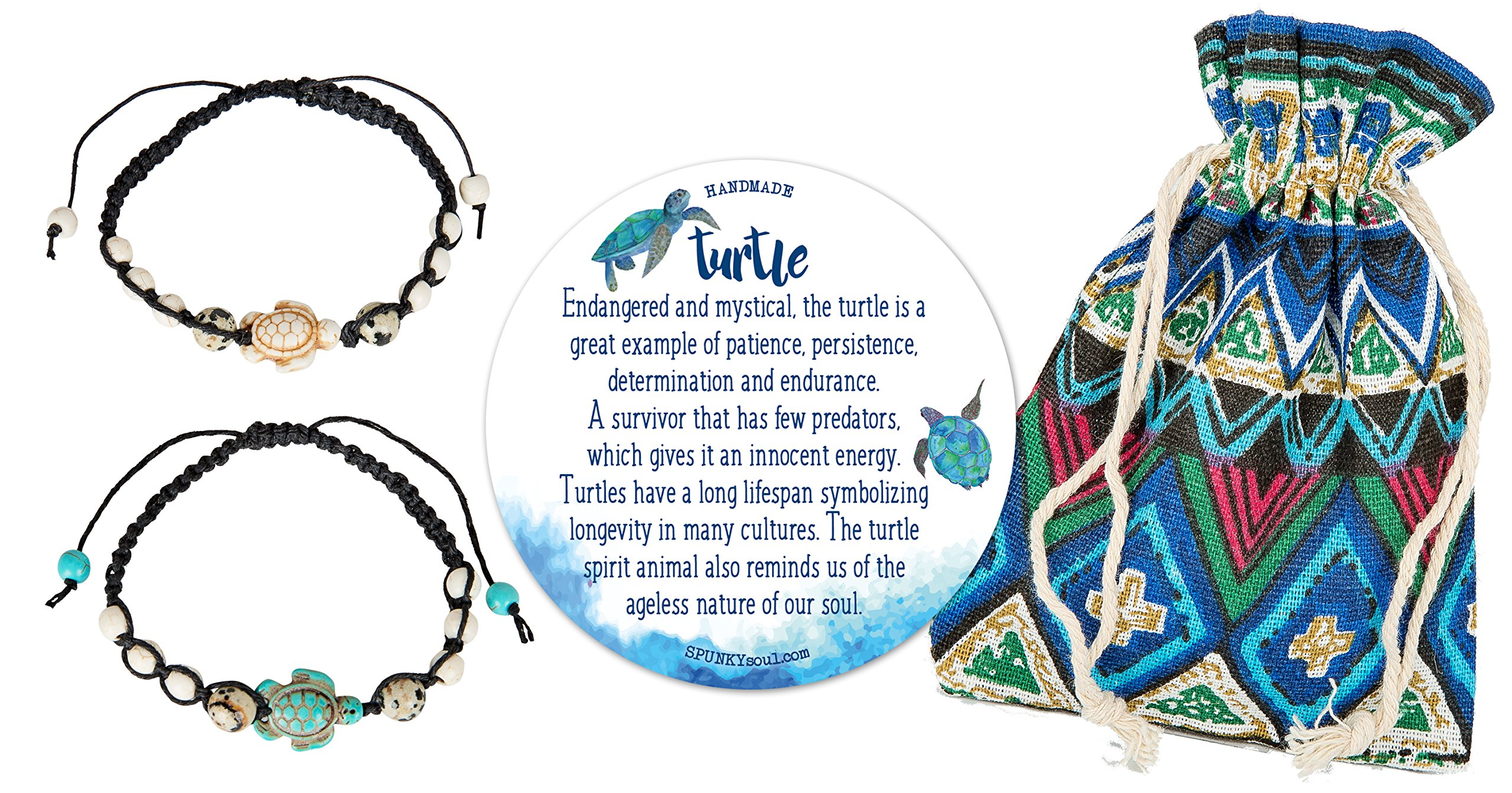 SPUNKYsoul Turtle Bracelet Set Adjustable Best Friend Couples Distance (or Anklet) Dalmatian Howlite Collection (2 Pack)