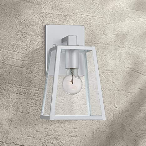 Arrington Modern Outdoor Wall Light Fixture Sleek Silver Steel 10 3 4 Clear Glass For Exterior House Porch Patio Deck John Timberland