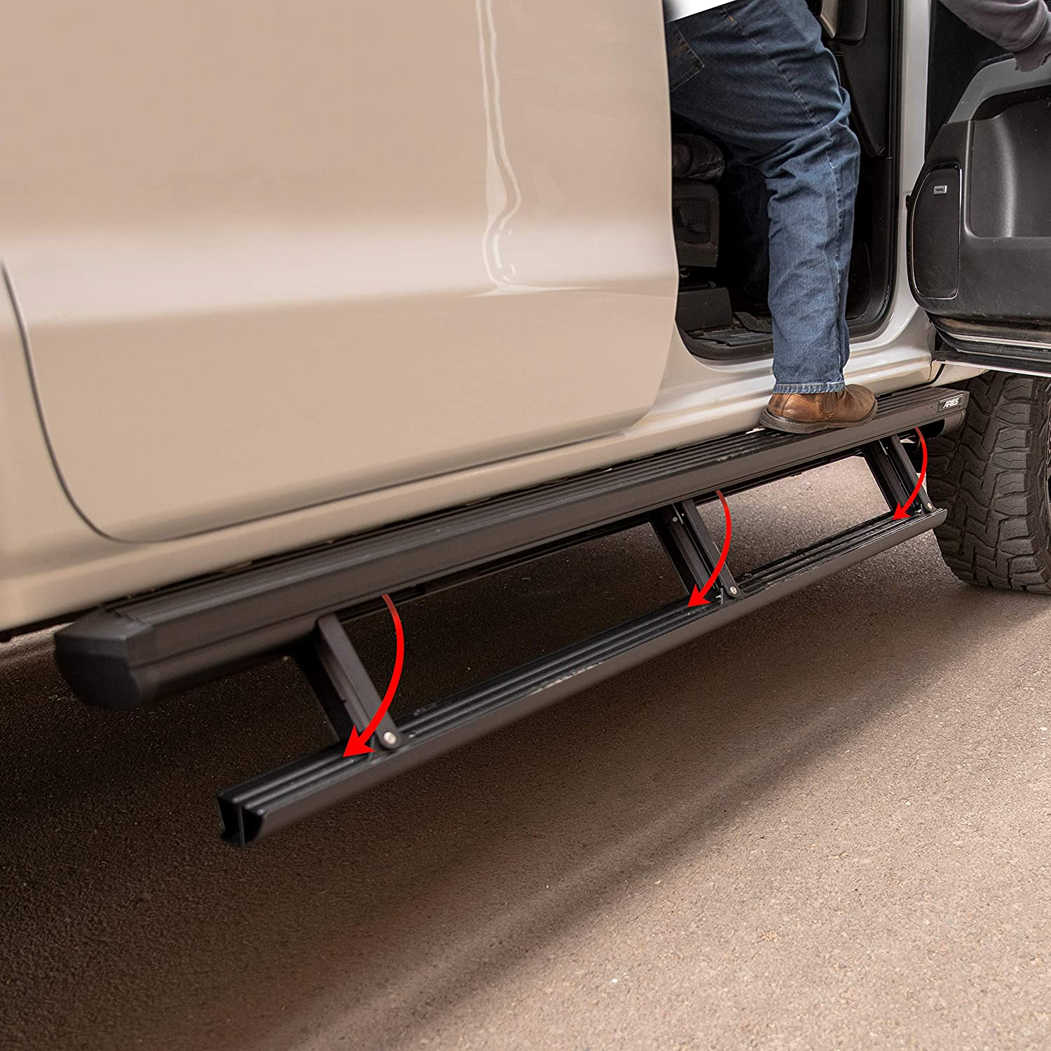 Aries 3047912 Actiontrac Truck Powered Running Boards With Retractable Electric Side Steps Black 79 Inch Fits Select Dodge Ram 1500 2500 3500 Crew