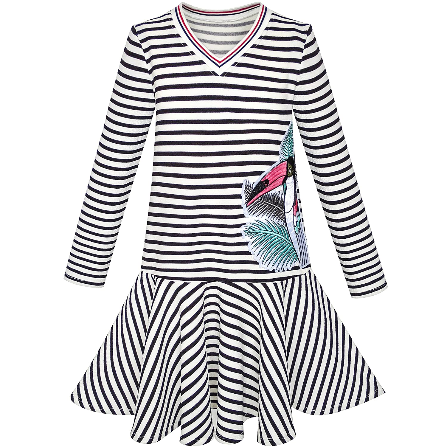 Sunny Fashion Girls Dress Stripe Long Sleeve Parrot School Jumper Size 6-12