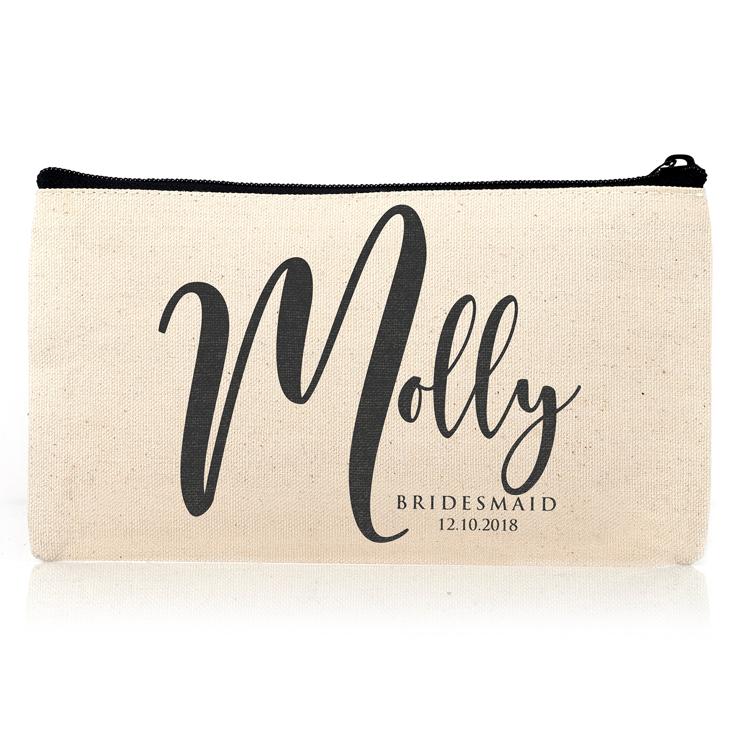 Personalized Cosmetic Bag Travel Makeup Pouch Wedding Bridal Party | DSG#18 | set of 3
