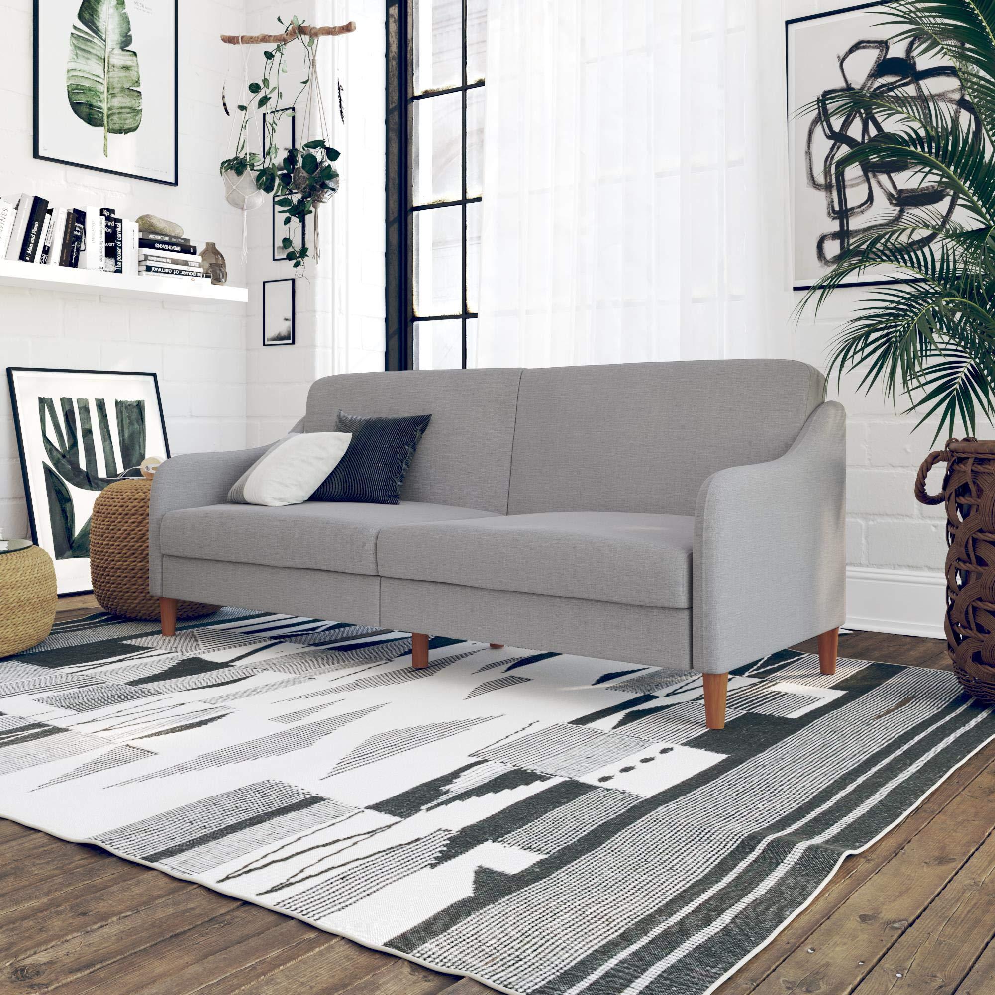 DHP Jasper Upholstered Coil Futon, Light Gray by DHP