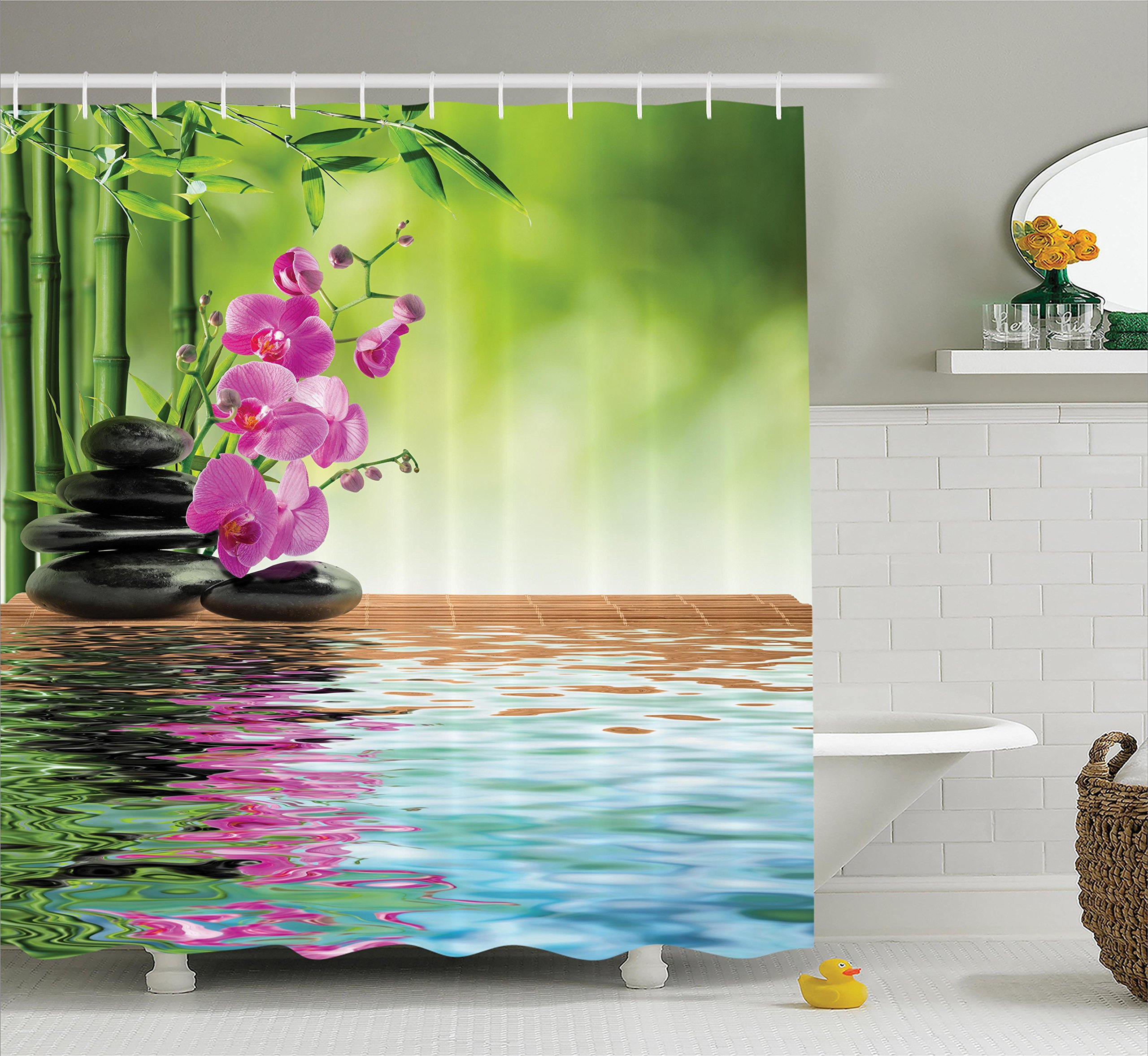 Ambesonne Spa Decor Shower Curtain Set, Orchid Flower Stone Oriental Culture Spirituality Wellness Tropical Holiday, Bathroom Accessories, 69W X 70L Inches