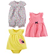 Simple Joys by Carter's Baby Girls' 3-Pack Romper, Sunsuit and Dress, Pink Dot/Floral/Yellow Bird, 3-6 Months