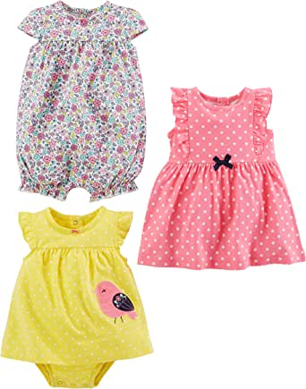 Simple Joys by Carter's Baby Girls' 3-Pack Romper, Sunsuit and Dress
