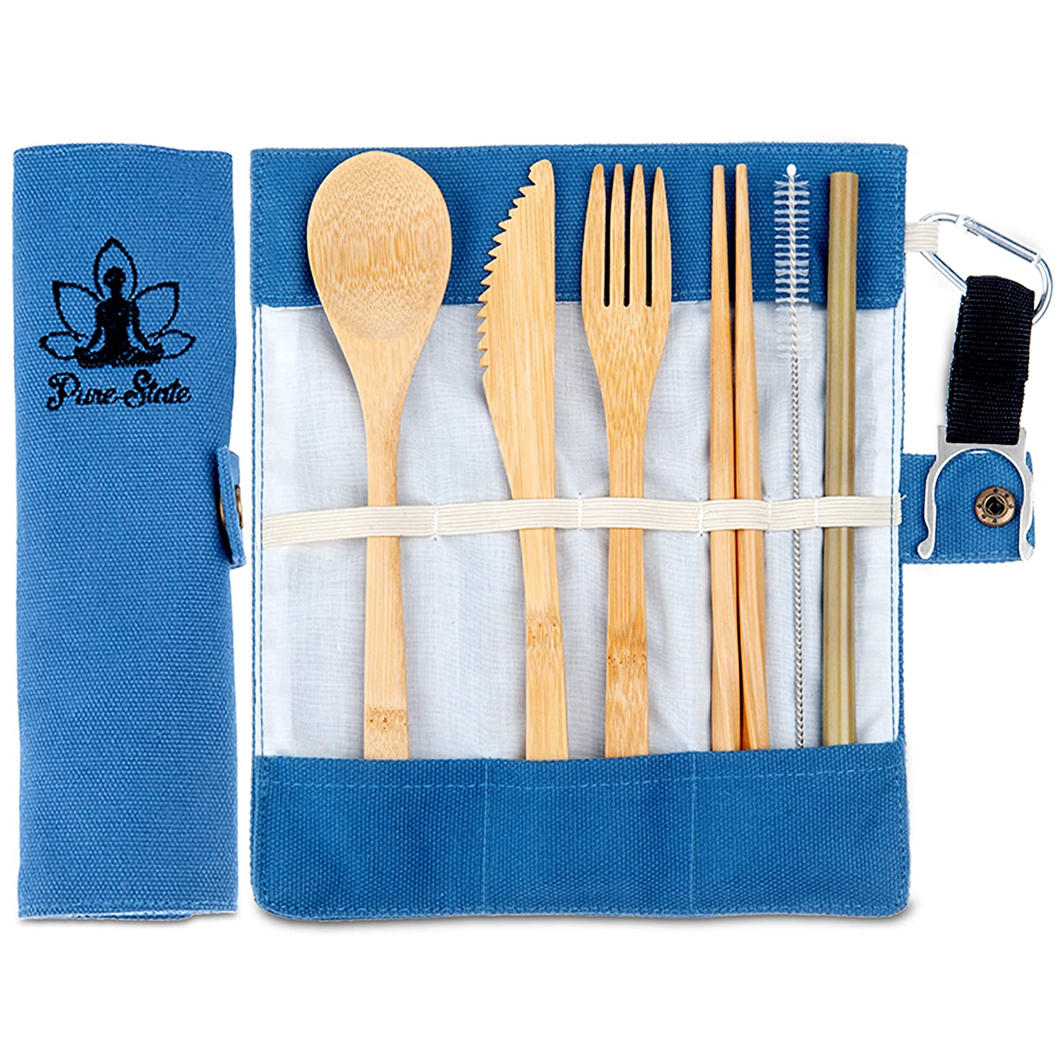 Amazon.com | Bamboo Utensils | Wooden Cutlery Set | 7-Piece Flatware | Travel | Camping | Zero Waste | Reusable | Including Case and Straw: Flatware Sets