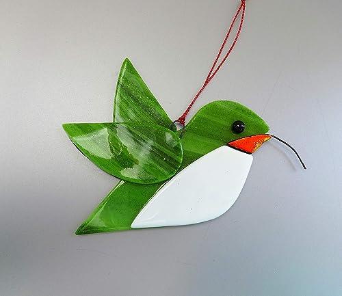 Blue spotted dichroic glass hummingbird suncatcher lampwork glass hummingbird sun catcher