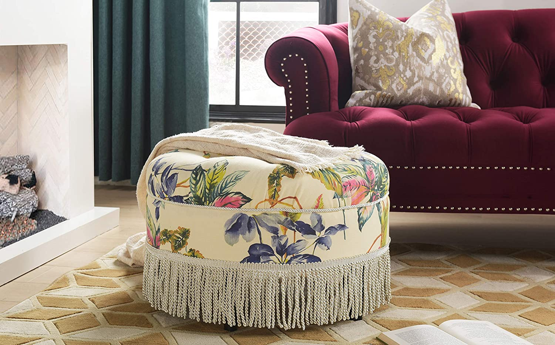 Jennifer Taylor Home Yolanda Ottoman, Off-White/Floral
