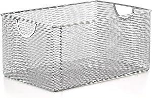 YBM HOME Silver Mesh Open Bin Storage Basket Organizer for Fruits, Vegetables, Pantry Items Toys, Etc.