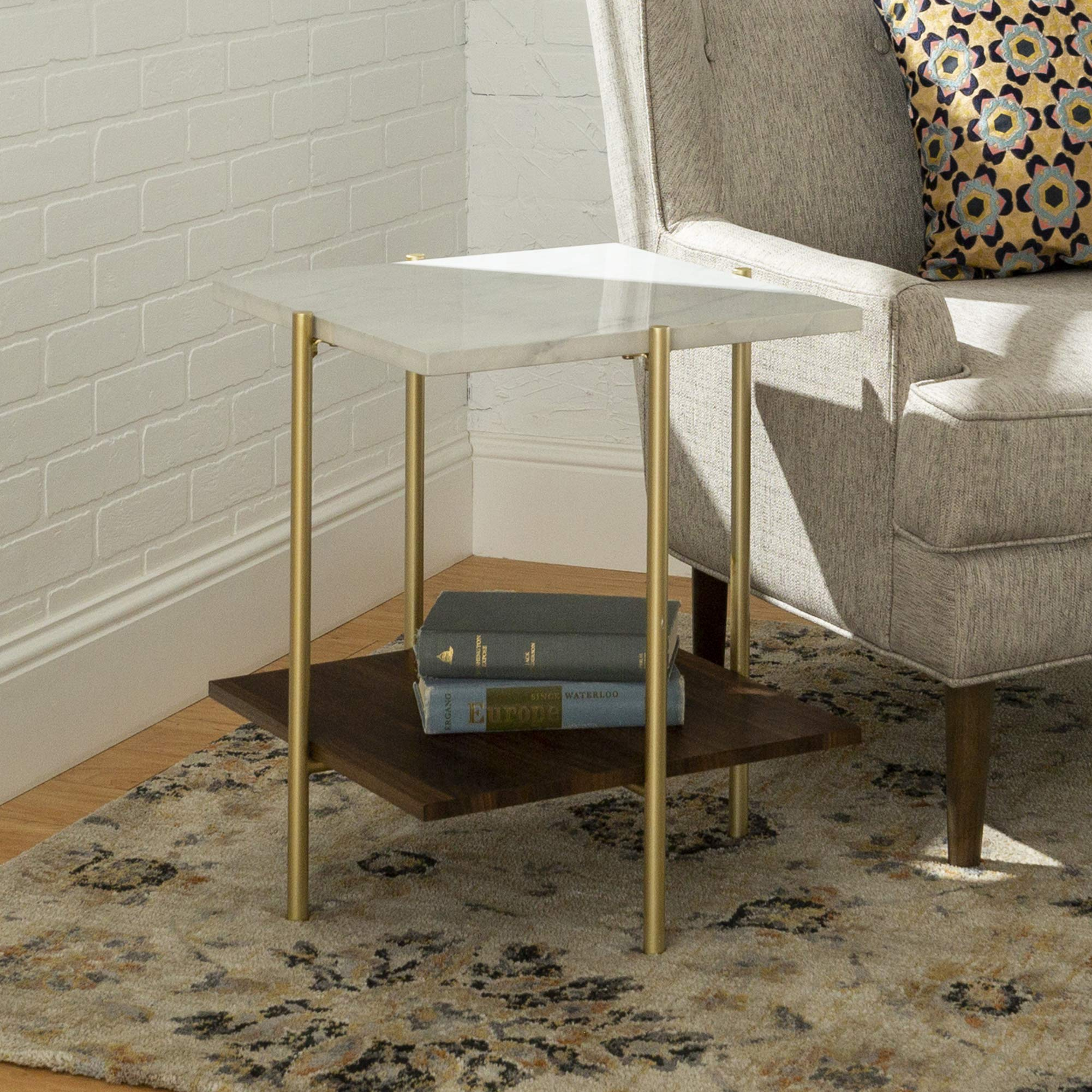 WE Furniture AZF20SSQSTMGD Mid Century Modern Square Side End Accent Table Living Room, 20 Inch, White Marble/Gold by WE Furniture