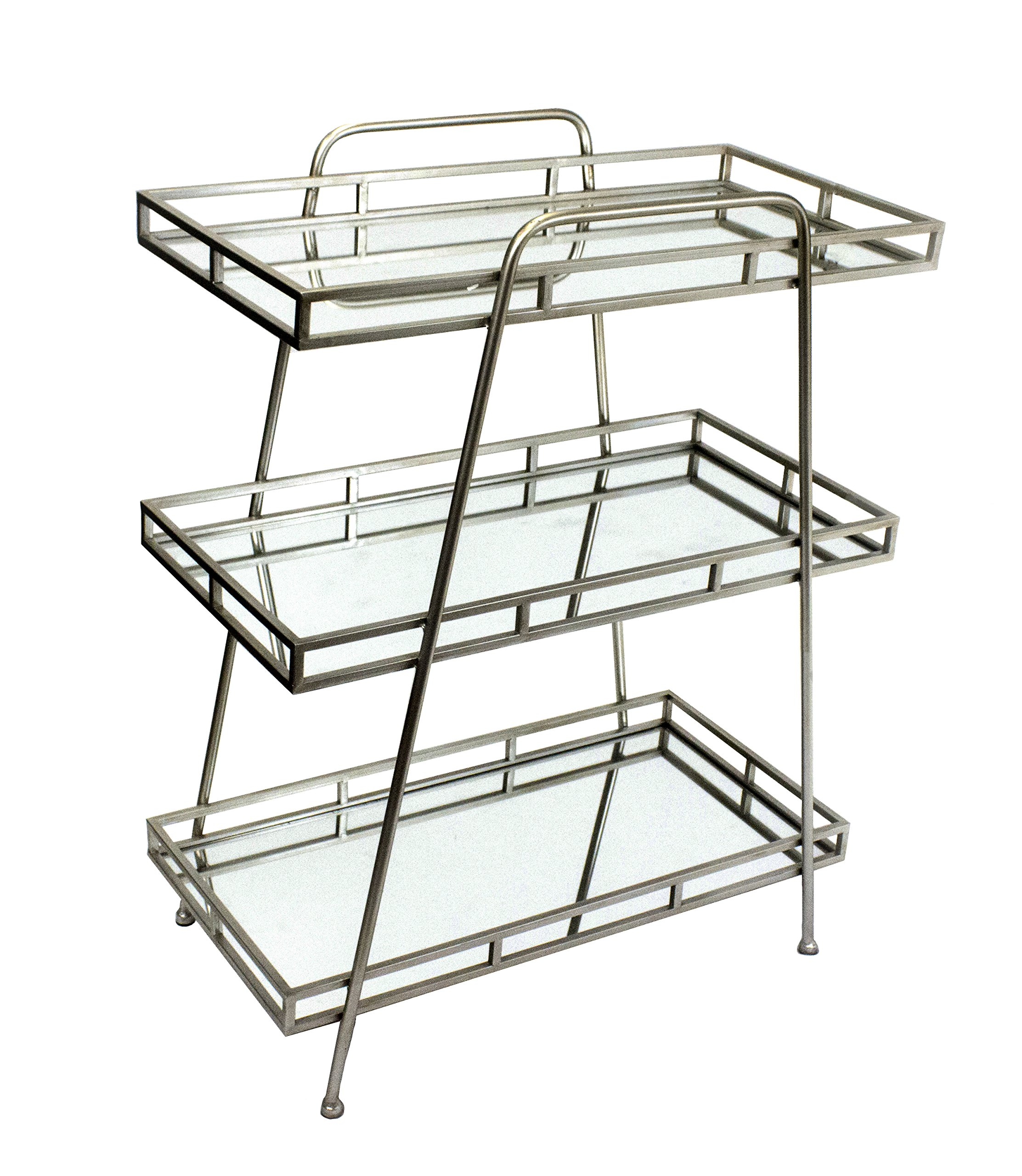 Sagebrook Home 11569 3 Tiered Metal & Glass Tray Stand, 28'' x 15'' x 36'', Multicolored
