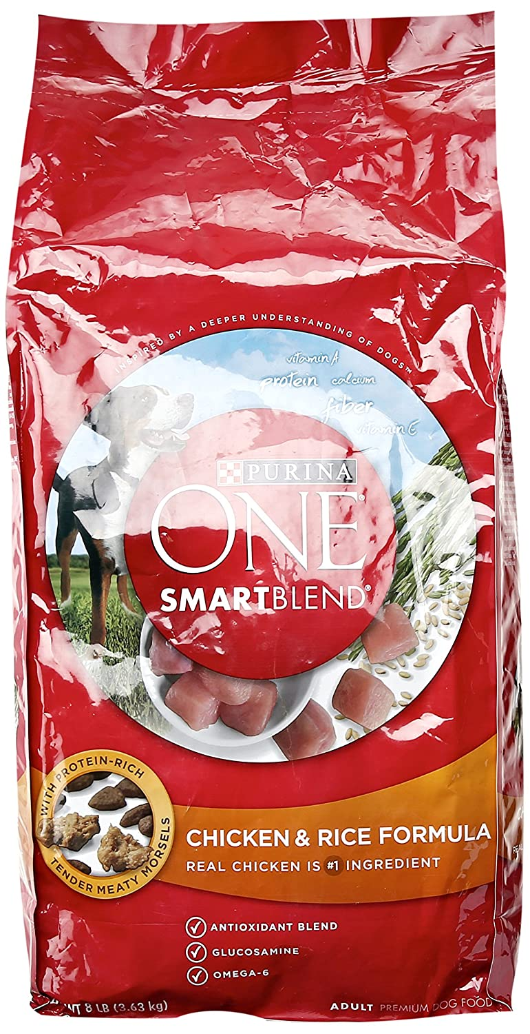 Purina ONE Smartblend Chicken and Rice, Dog Food, 8 lb delicate
