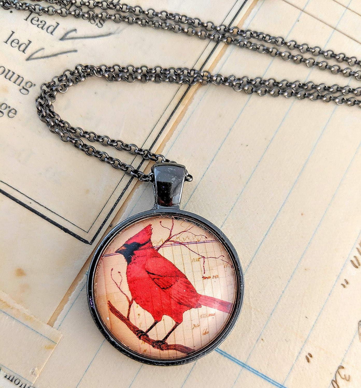 Cardinal Necklace Round Glass Pendant Red Bird Wearable Art Bird Necklace Birthday Gift