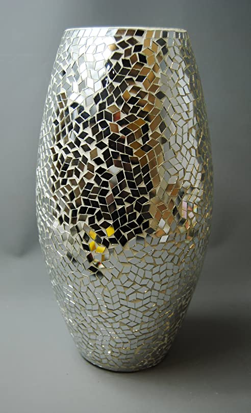 mirror vase. modern contemporary large silver mosaic mirror vase