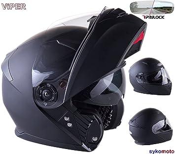 Viper CASCO MODULAR RS-V445 INTEGRAL PINLOCK DOBLE VISERA TURISMO ECE HOMOLOGADO CASCO NEGRO MATE