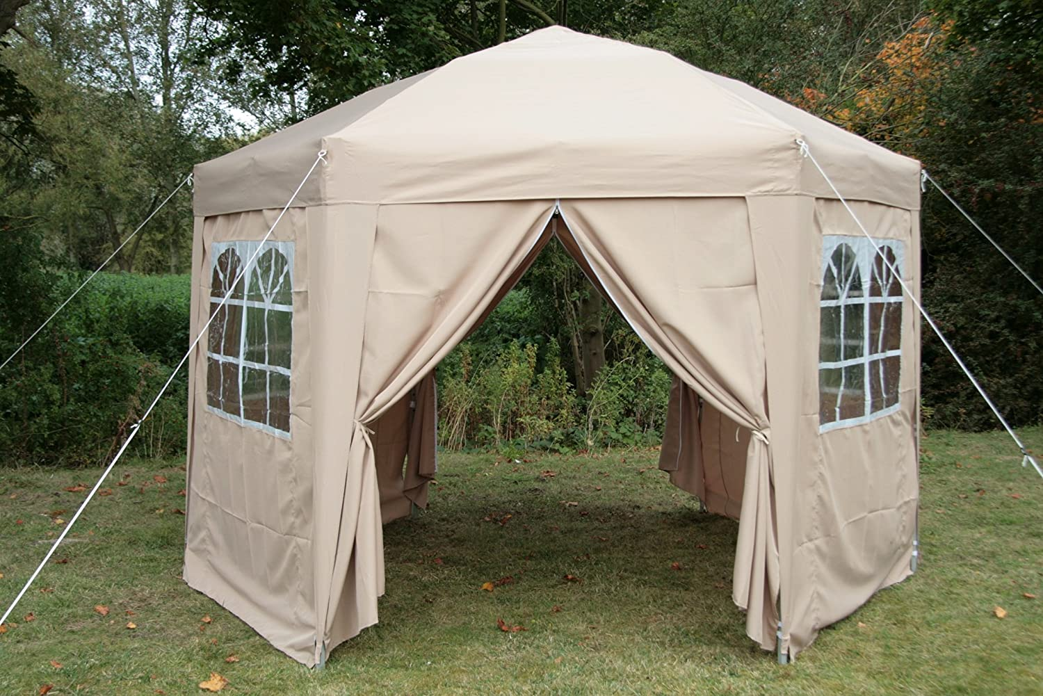 Airwave 35mtr Pop Up Gazebo HEXAGONAL Biege Fully Waterproof With Six Sides And CarryBag Amazoncouk Garden Outdoors