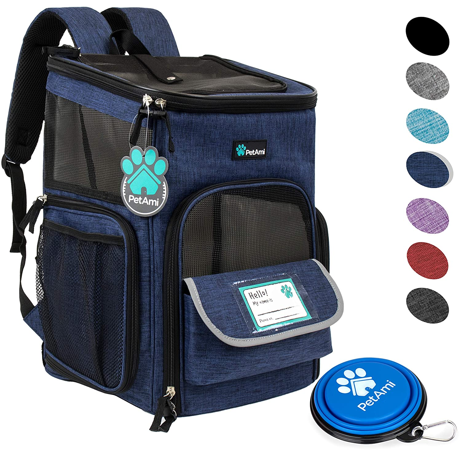 Navy One Size Navy One Size PetAmi Pet Carrier Backpack for Small Cats, Dogs, Puppies   Ventilated Structured Frame, 4 Way Entry, Safety and Soft Cushion Back Support   Collapsible for Travel, Hiking, Outdoor (Navy)