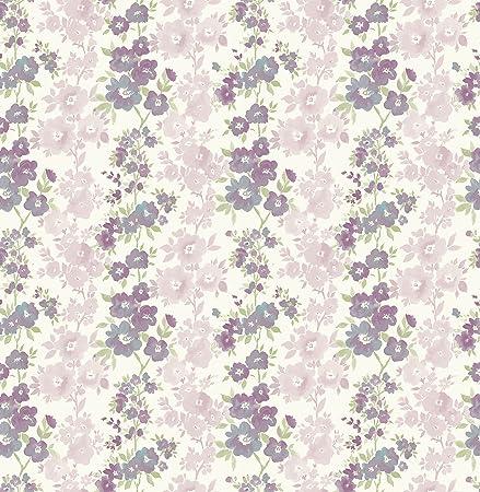 Bhf Fd22255 Ami Lila Blumen Streifen Charlise Tapete Pflaume