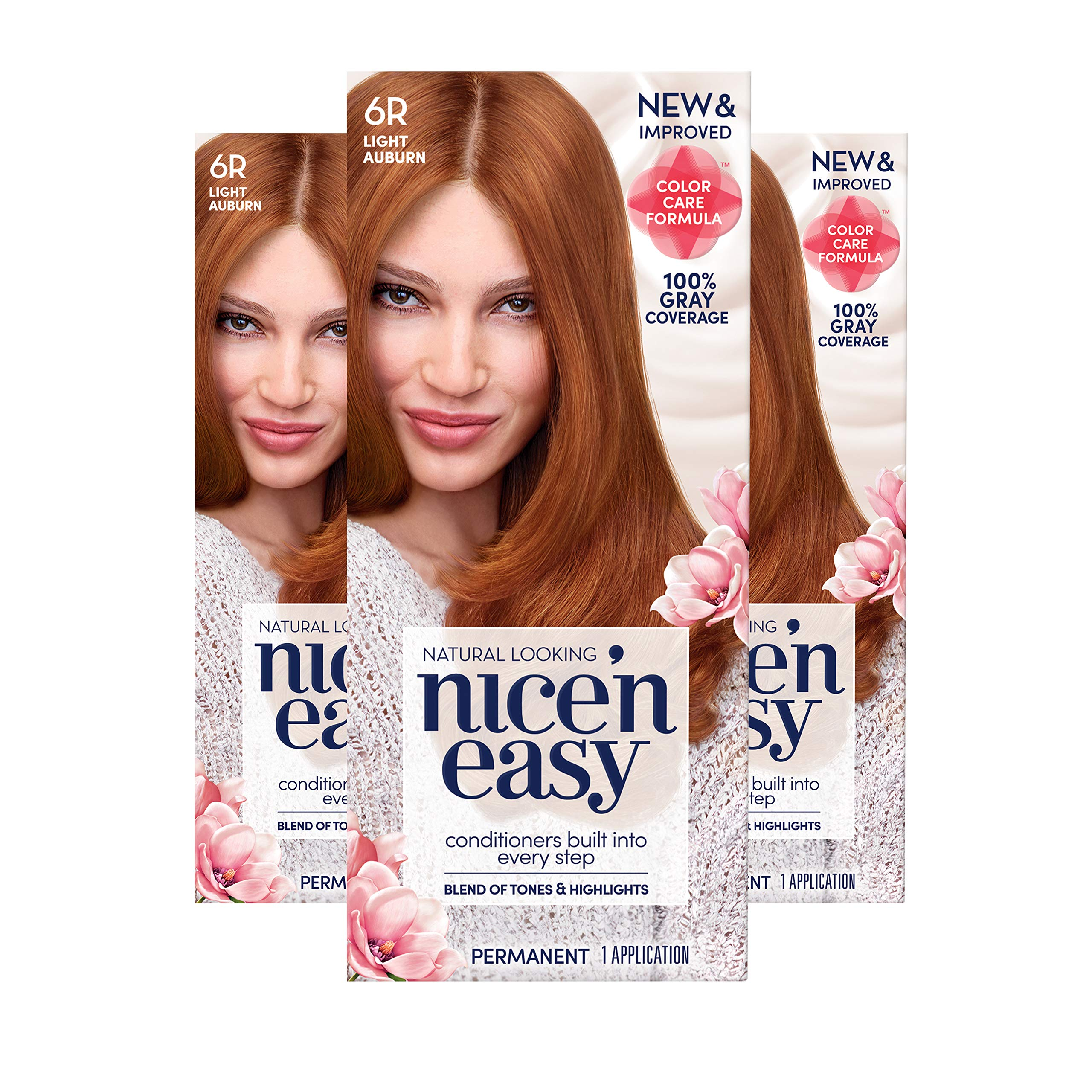 Clairol Nice 'n Easy Permanent Hair Color, 6R Light Auburn, 3 Count (Packaging May Vary) by Clairol