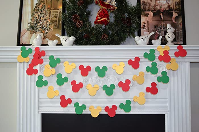 mickey mouse christmas decorations mickey mouse mantle decoration mickey mouse christmas garland mickey - Mickey Christmas Decorations