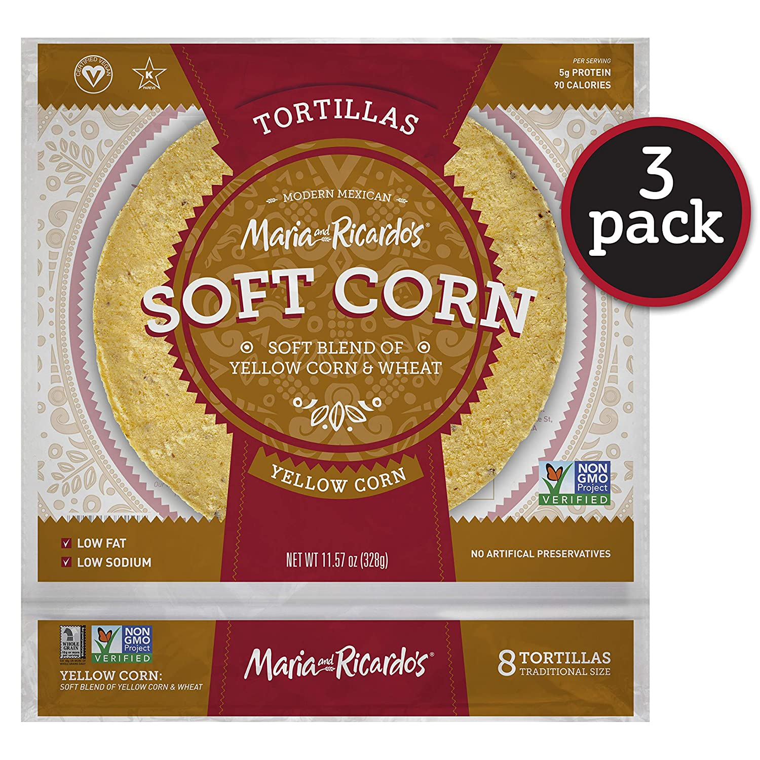 Maria & Ricardo's Soft Yellow Corn Tortillas. (3 Pack) Made from a blend of corn and wheat. Non GMO PV. Vegan. Kosher. 8 Tortillas per Pack