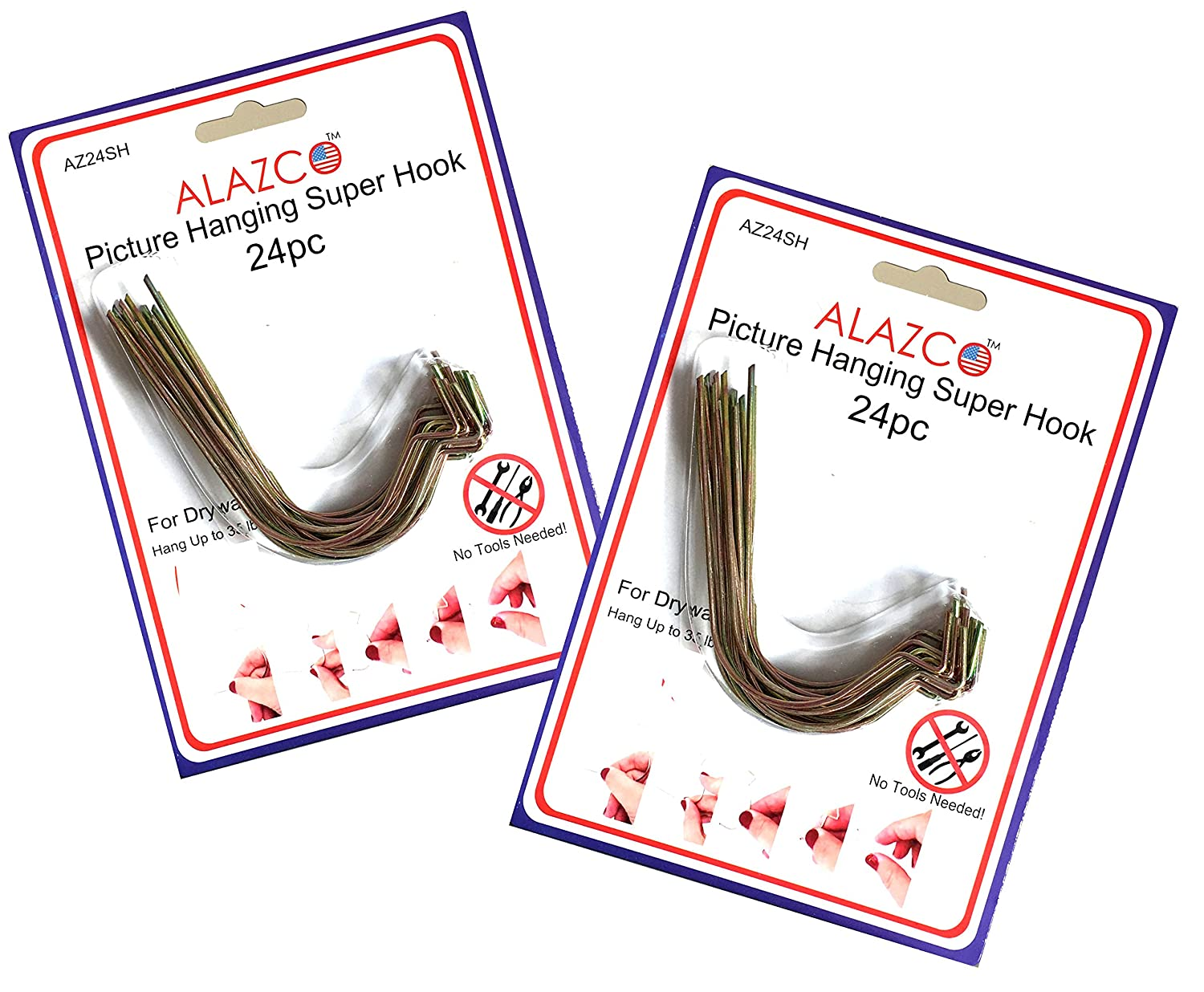 24pc set alazco super hooks hang pictures without any tool