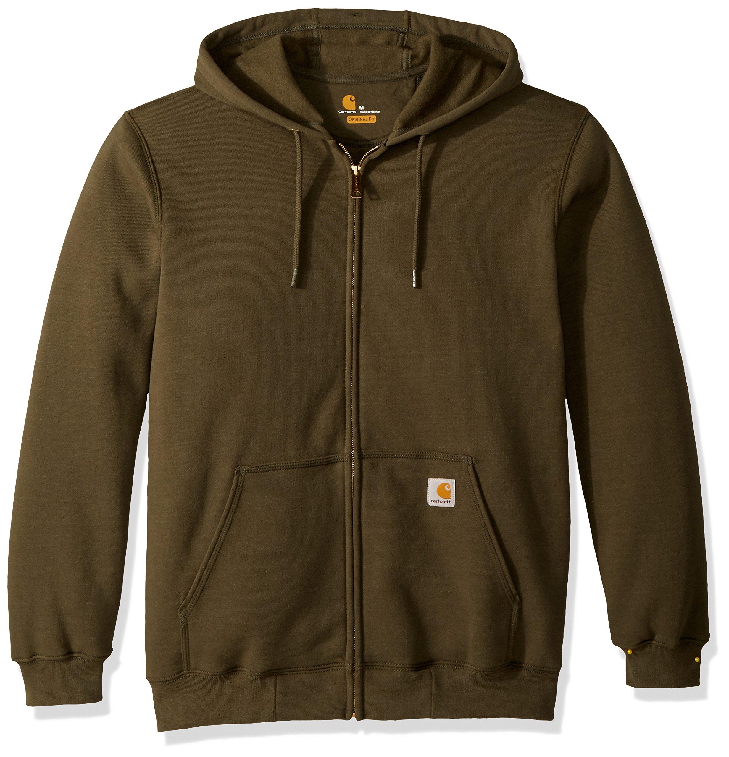 Carhartt Mens Midweight Hooded Zip-Front Sweatshirt,Dark Brown,Medium