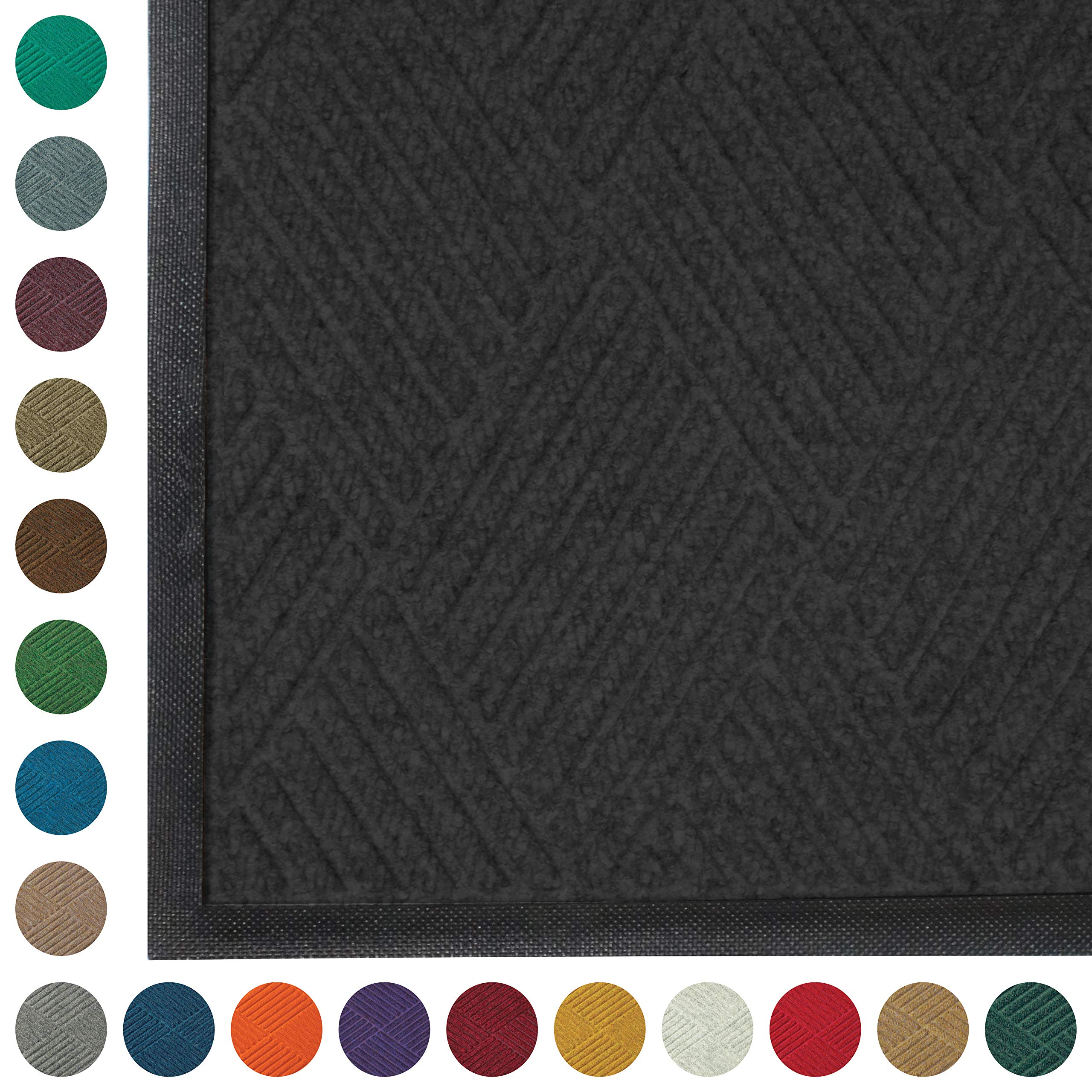 WaterHog Diamond | Commercial-Grade Entrance Mat with Rubber Border - Indoor/Outdoor, Quick Drying, Stain Resistant Door Mat (Charcoal, 3' x 5') by M+A Matting