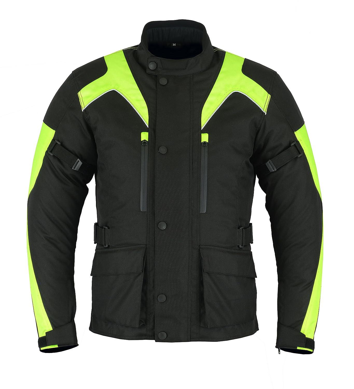 Mens Black//Grey Black//Red Black//High Viz Textile Motorcycle Motorbike Jacket Waterproof CE Armoured by Sterling Sports/® Black Red, Small 36-38